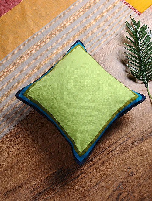 Green-Blue Hand-Embroidered Cotton Cushion Cover (16in x 16in)