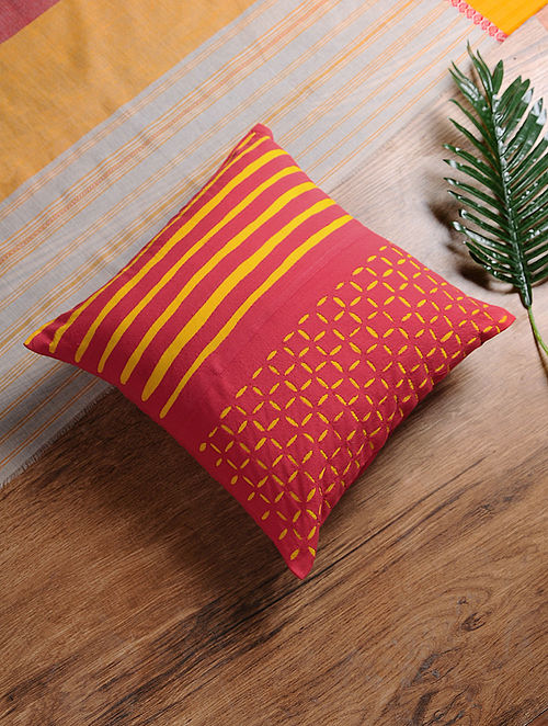 Coral-Yellow Hand-Embroidered Cotton Cushion Cover (16in x 16in)