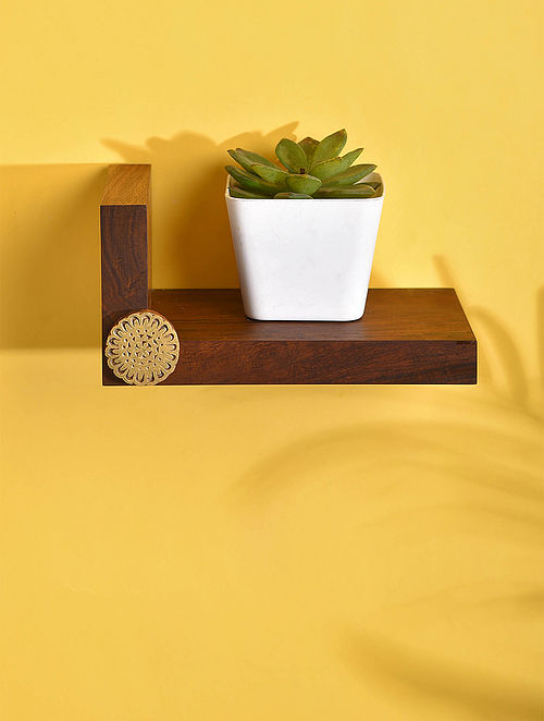 Brown Handcrafted Sheesham Wood Shelf (L - 5in, W - 8in, H - 4in)