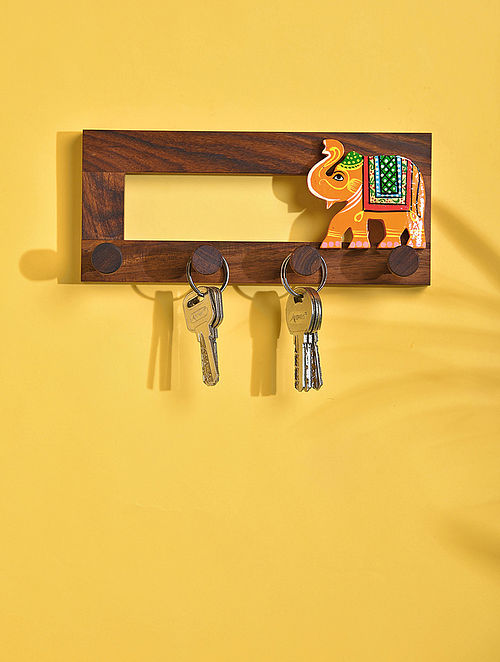 Brown and Yellow Handcrafted Sheesham Wood Wall Hook (3.5in x 8in)