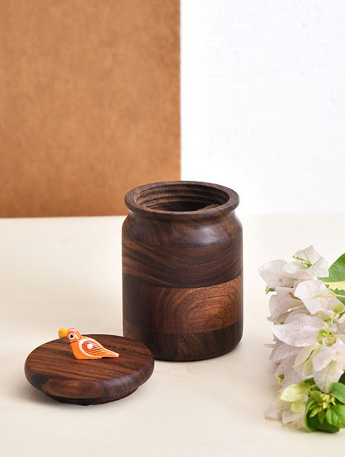 Brown-Multicolor Handcrafted Sheesham Wood Jar with Bird Motif