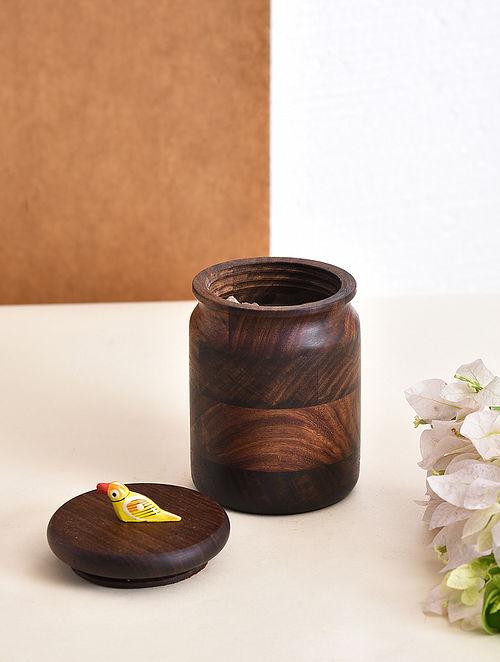 Brown-Multicolor Handcrafted Sheesham Wood Jar with Bird Motif