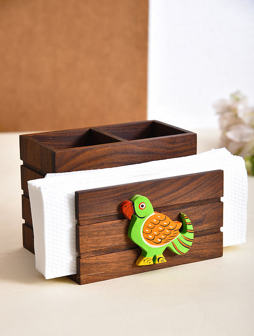 Brown and Green Handcrafted Sheesham Wood Cutlery Holder with Gold Block (L - 5in, W - 5.6in, H - 4.2in)