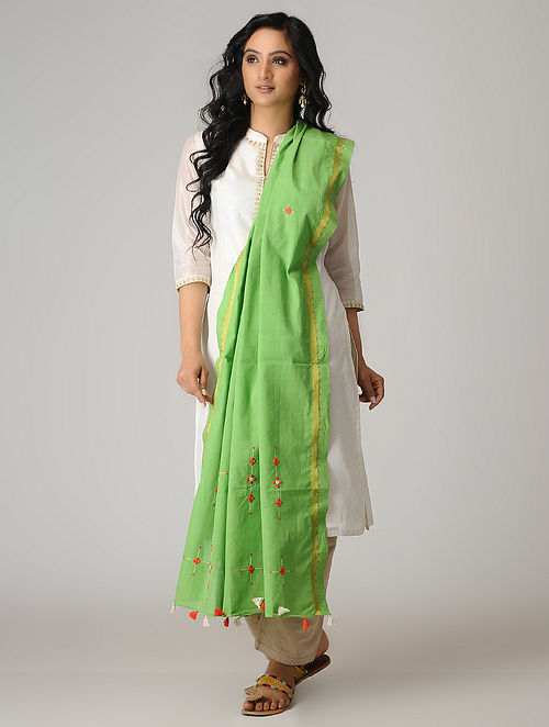 Green-Orange Suf Embroidered Cotton Dupatta with Zari Border and Tassels