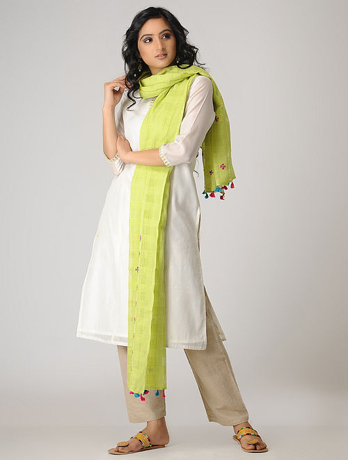 Green-Blue Hand-embroidered Cotton Dupatta with Tassels