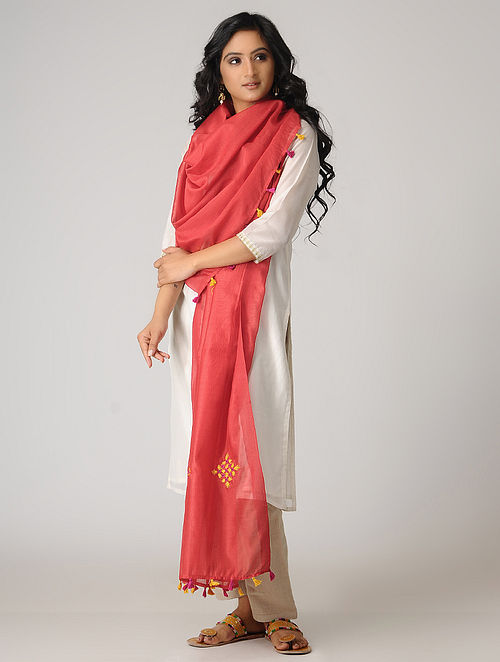 Red-Yellow Pakko-embroidered Chanderi Dupatta with Tassels