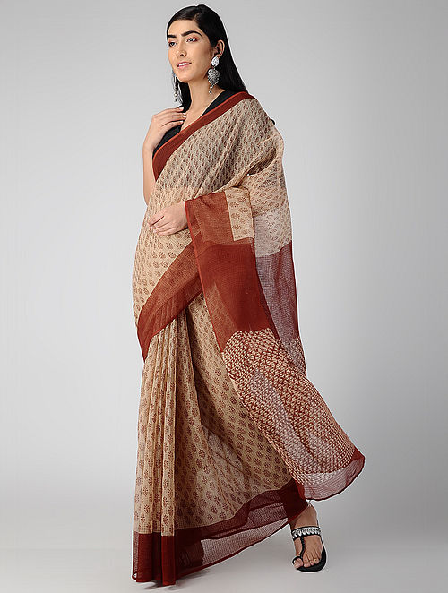 Ivory-Red Bagru-printed Kota Doria Saree
