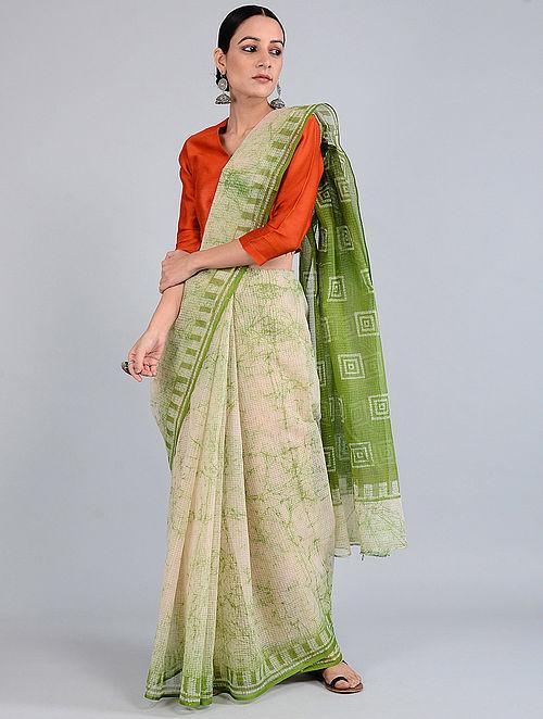 Ivory-Green Batik-dyed Kota Doria Saree