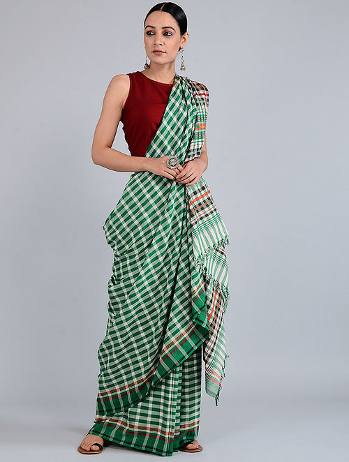 Green-Ivory Checkered Batik-dyed Cotton Saree