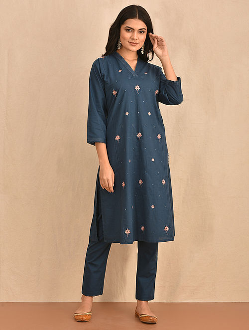 SUMBAL - Blue Hand Embroidered Cotton Kurta with Pants