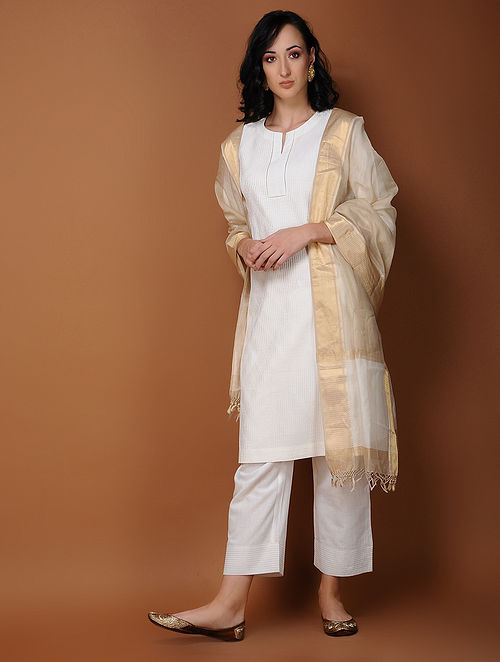 Ivory Pintuck Cotton Kurta