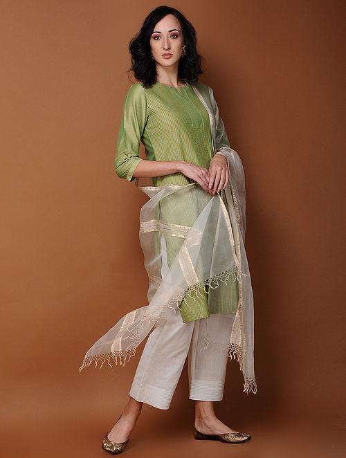Green Pintuck Cotton Kurta