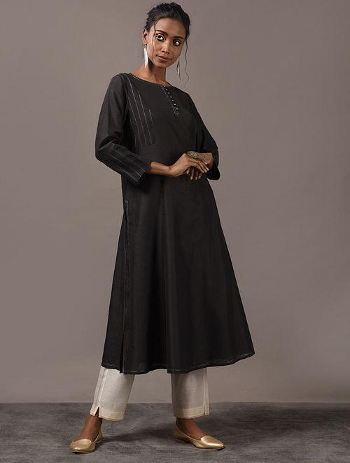 SAKHI - Black Cotton Kurta with Pintucks