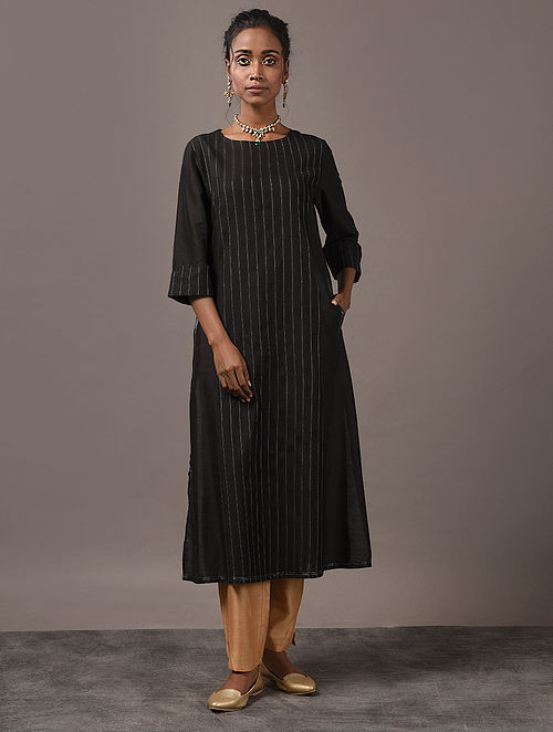 SANGINI - Black Cotton Kurta with Pintucks