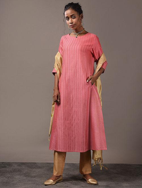 SAHACHARI - Pink Cotton Kurta with Pintucks and Zari Stitch
