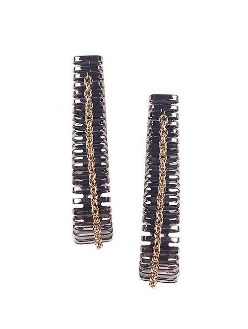 Dual Tone Plated Brass Earrings