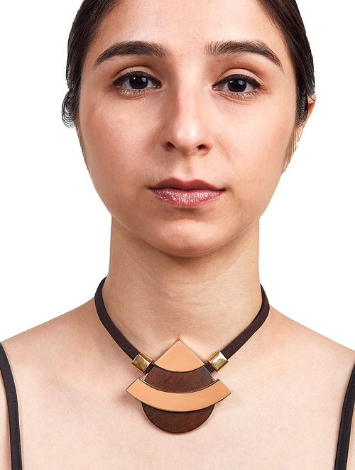 Brown Gold Plated Brass and Wood Necklace