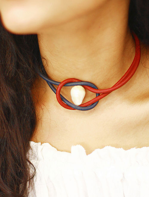 Red Blue Cord Necklace with Pearl
