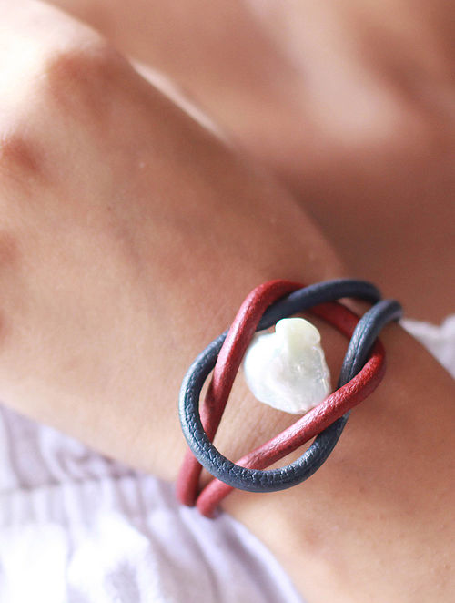 Red Blue Cord Bracelet with Pearl