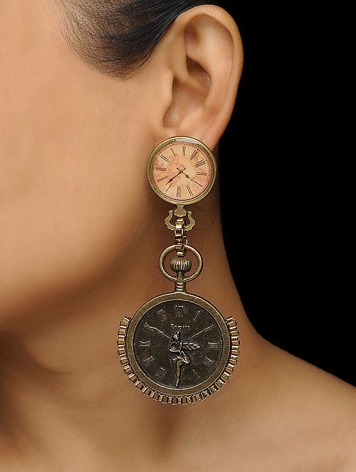 Brown Enameled Brass Clock Design Earrings