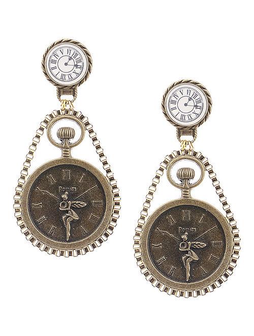 White Enameled Vintage Brass Clock Design Earrings