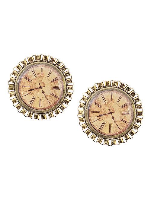 Brown Enameled Brass Clock Design Earrings