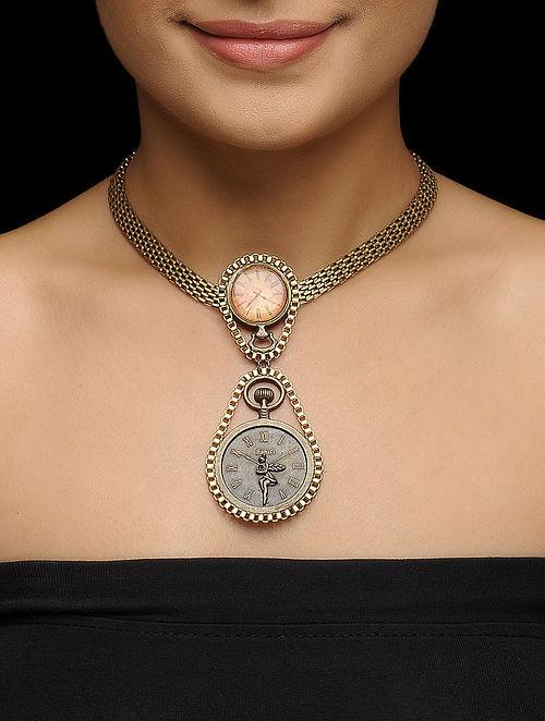 Brown Enameled Vintage Brass Clock Design Necklace