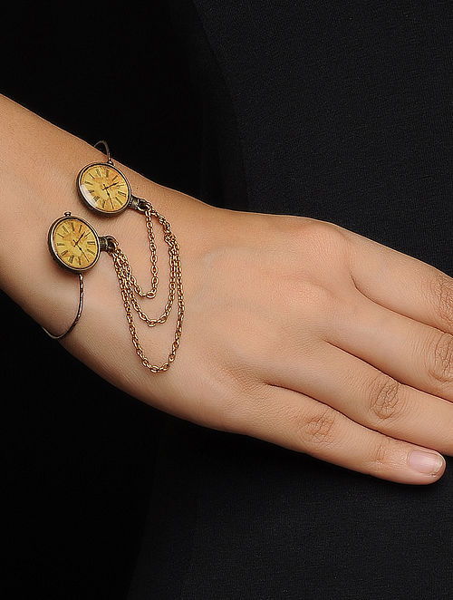 Brown Enameled Brass Clock Design Bracelet
