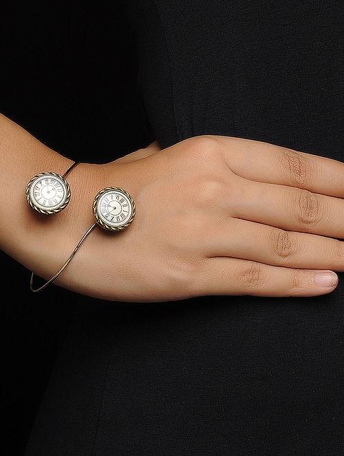 White Enameled Brass Clock Design Bracelet