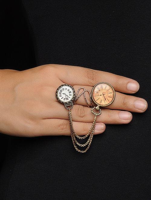 Brown-White Enameled Brass Adjustable Clock Design Ring