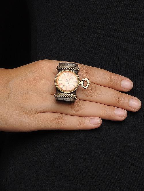 Brown Enameled Adjustable Brass Ring