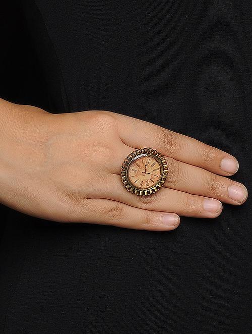 Brown Enameled Adjustable Brass Clock Design Ring