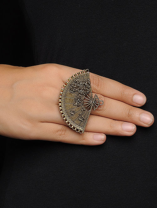 Vintage Adjustable Brass Ring with Floral Design