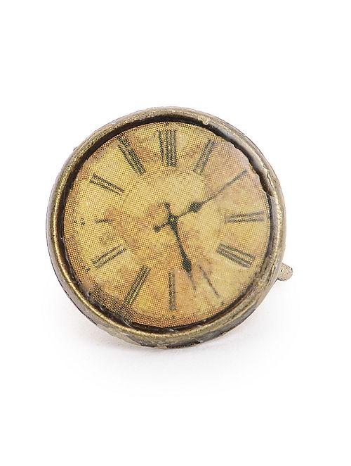 Brown Enameled Brass Clock Design Nose Clip