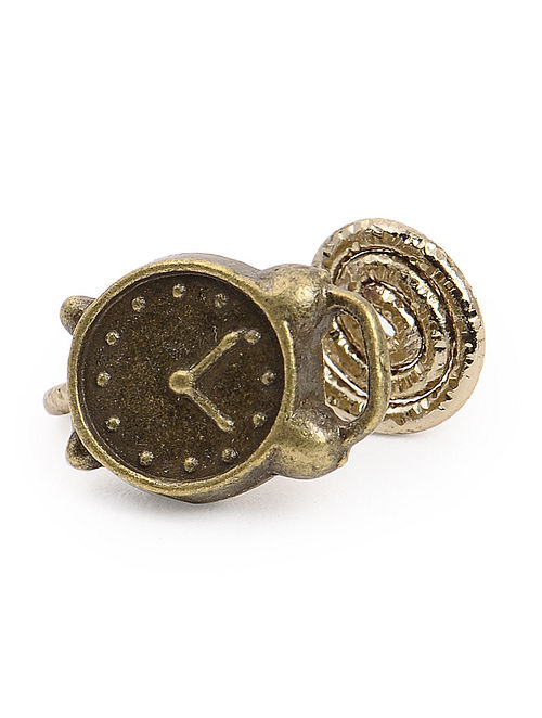 Vintage Brass Nose Clip with Clock Design