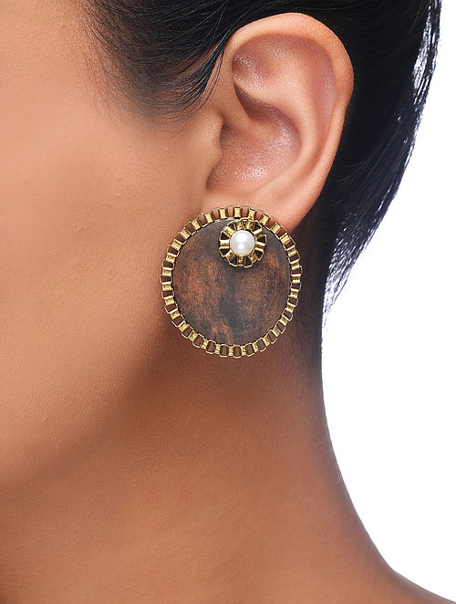 Brown Gold Tone Wood Earrings with Pearl