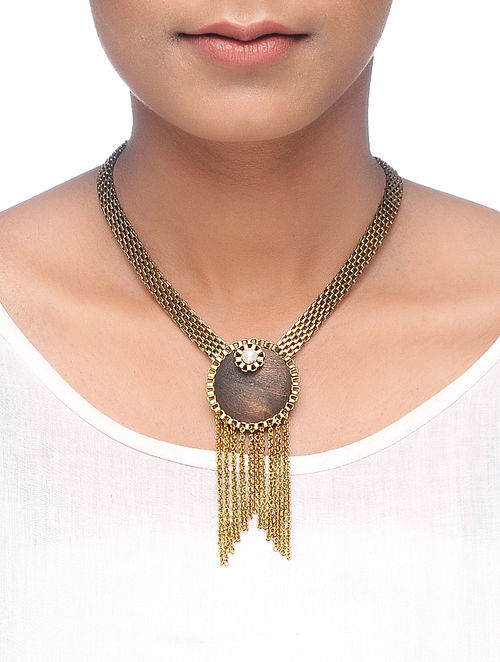 Brown Gold Tone Wood Necklace with Pearl