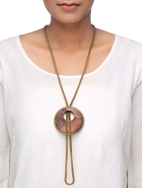 Brown Gold Tone Wood Necklace