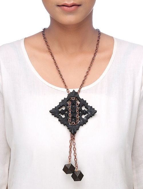 Black Gold Tone Wood Necklace