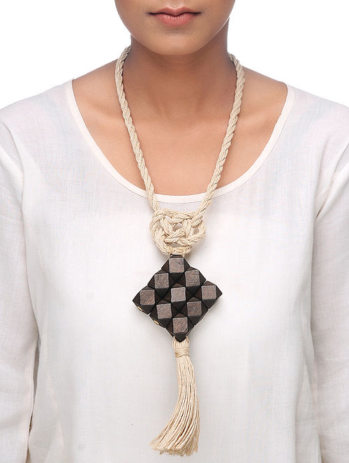 White-Brown Jute-Wood Necklace with Tassel