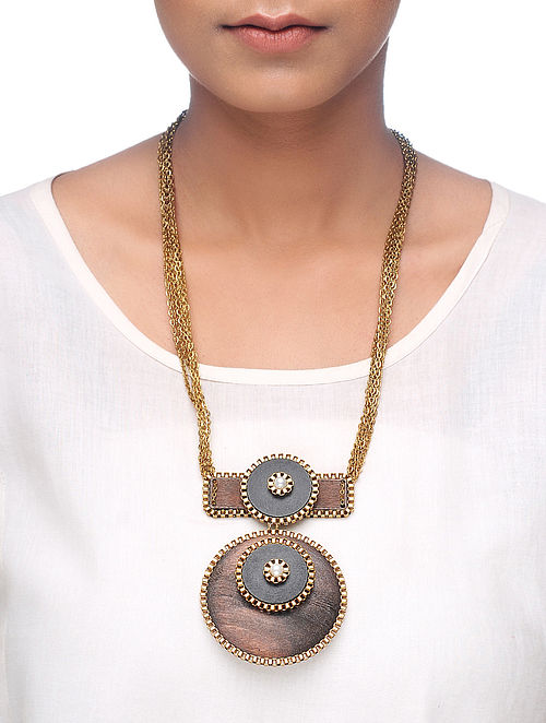 Black-Brown Gold Tone Wood Necklace with Pearl