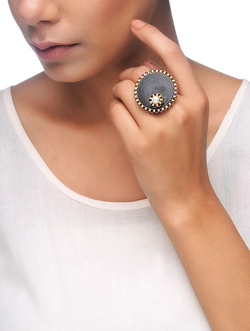 Black Gold Tone Wood Adjustable Ring with Pearl