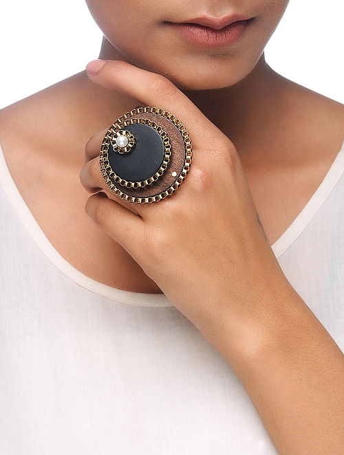 Black-Brown Gold Tone Wood Adjustable Ring with Pearl