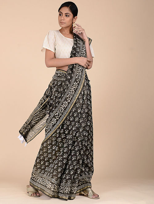 Black-Ivory Dabu-printed Chanderi Saree with Zari