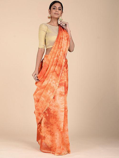 Orange-Ivory Clamp-dyed Chanderi Saree with Zari