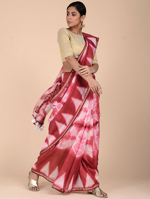 2038e21b3ef Buy Red-Ivory Clamp-dyed Chanderi Saree with Zari Online at ...
