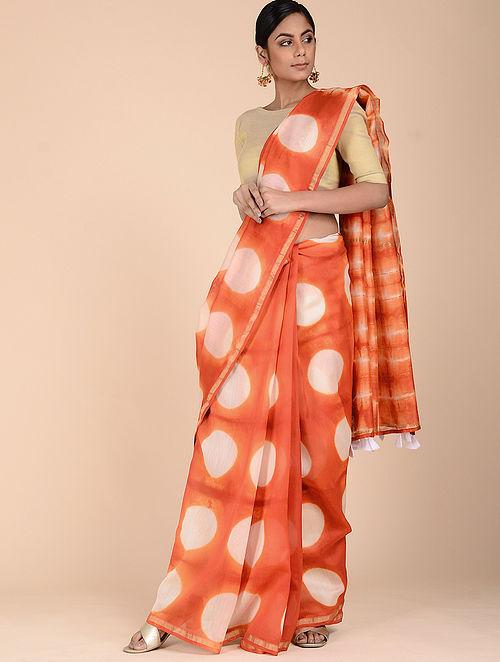 6543493ac7 Orange-Ivory Chanderi Clamp-dyed Saree with Zari Specials Sarees