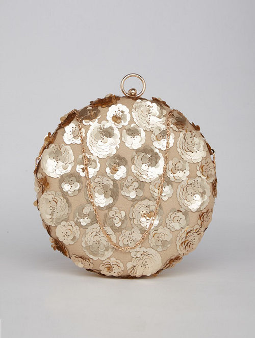 Gold Beige Sequined Genuine Leather Clutch