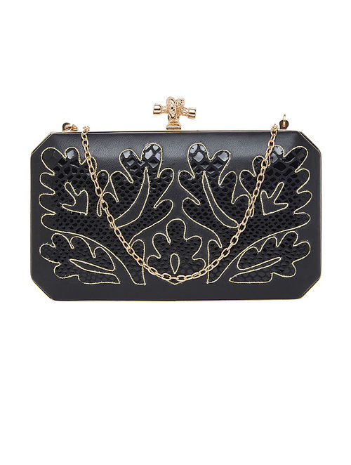 Black Handcrafted Genuine Leather Clutch