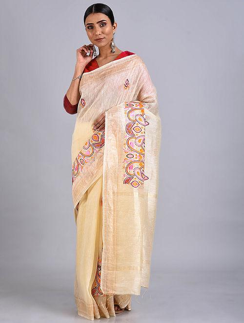 Cream Embroidered Silk Linen Saree